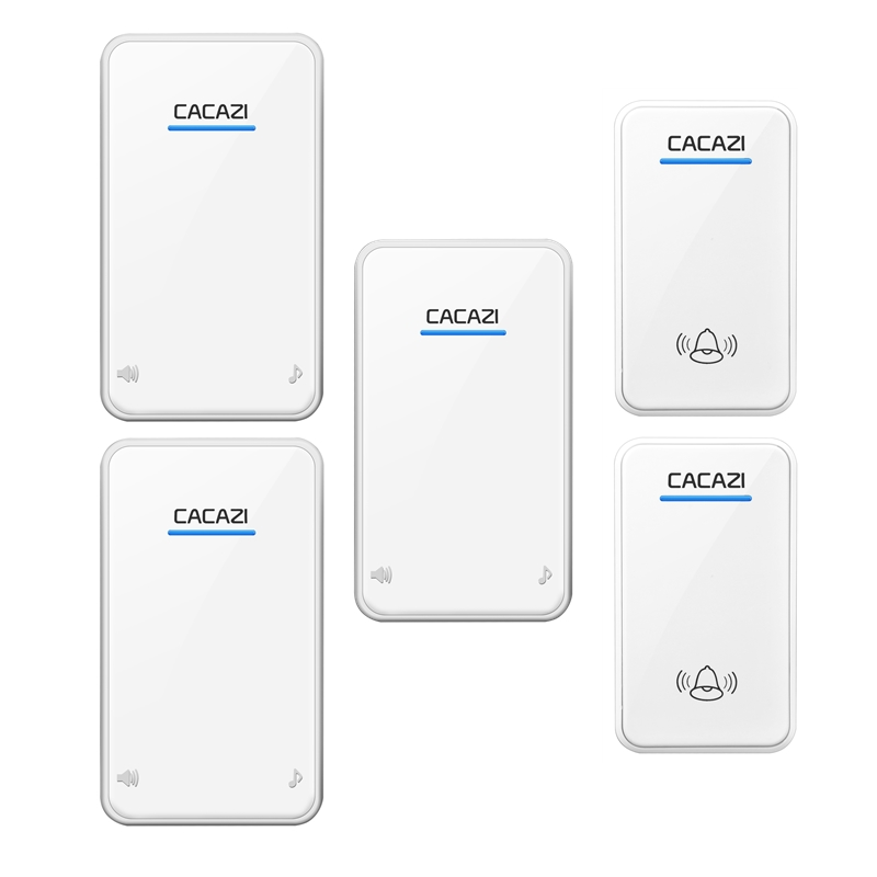 CACAZI AC 100-240V door bell 2 waterproof buttons+3 receivers wireless doorbll 48 rings door chime UK/US/EU plug ring bell 2 receivers 60 buzzers wireless restaurant buzzer caller table call calling button waiter pager system