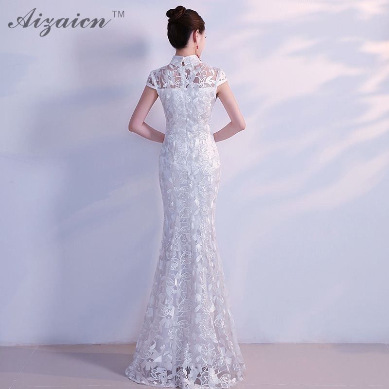 Oriental Long Elegant Cheongsam White Chinese Style Evening Dress Lace  Sleeveless Qipao Mermaid Wedding Dresses Traditional-in Cheongsams from  Novelty ... b0a3c169f05a