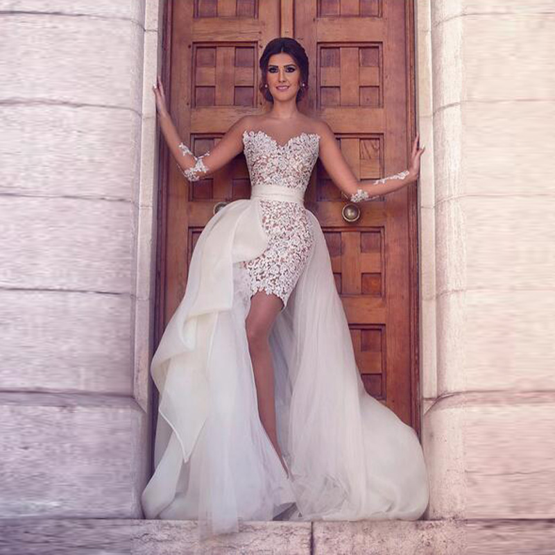 Robe de mariage lebanon arabic high low sexy lace wedding for Sexy high low wedding dresses