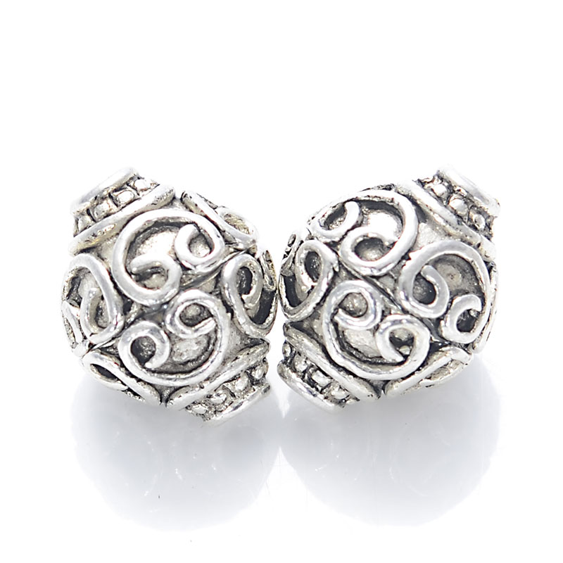 Tibetan Style Beads Cast Beads 12X14mm Antique Silver Filligree Ball For Diy Jewelry Making Sold of 20 PCS