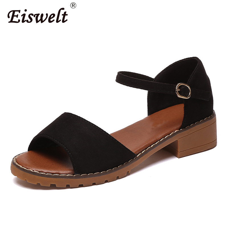 EISWELT Summer Women Sandals Solid Flats Comfortable Beach Sandals Casual Summer Shoes Fashion Sandals Ladies Women Sandals summer sandals women clogs beach slipper women shoes casual sneakers women flats sandals ladies shoes zapatos mujer