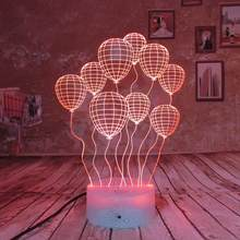 Birthday Gift 3D Night Light Balloon 7 Color LED Create Wow Effect Great Gift Idea Includes Mains Plug and USB Cable Table Lamp(China)