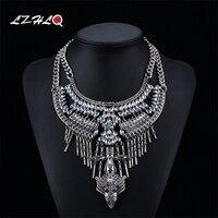 LZHLQ Vintage Maxi Tassel Necklaces For Women 2017 Fashion Brand Jewelry Geometric Metal Multilayer Rhinestone Chunky
