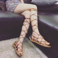 Roni Bouker HOT Casual Women Gladiator Lace up Sandals Runway Flat Spikes Heels Girls Rock and Roll Sexy Shoes Free Shipping