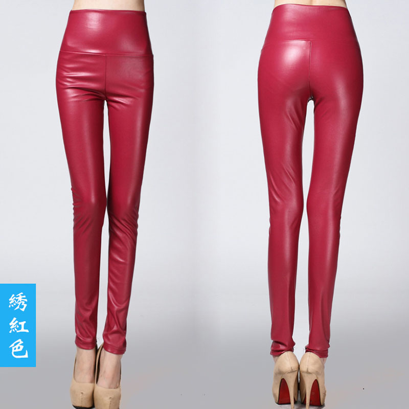 Fitness Skinny PU Leather Pencil Pants Slim Shaper Long Pants Female Fashion Bandage Sheath Trousers Tight Woman Clothes Overall slack skinny tight fit work pants