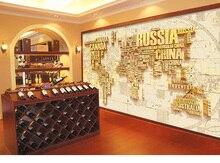 任意のサイズカスタムdiy 3d壁紙muralロールスロイスロシアカナダ世界地図用オフィスホテルレストランバーktvリビングルーム背景