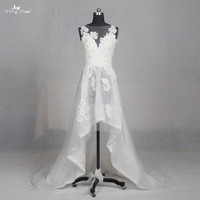 LZ155 Alibaba Applique BeadingSleveless Wedding Gowns Lace Wedding Dress High Low Wedding Dresses