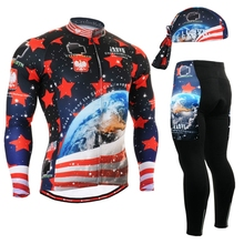 2017 the latest team usa cycling jersey sets red star pattern clothes long ocean clothing suits bicycle wear apparel hot selling