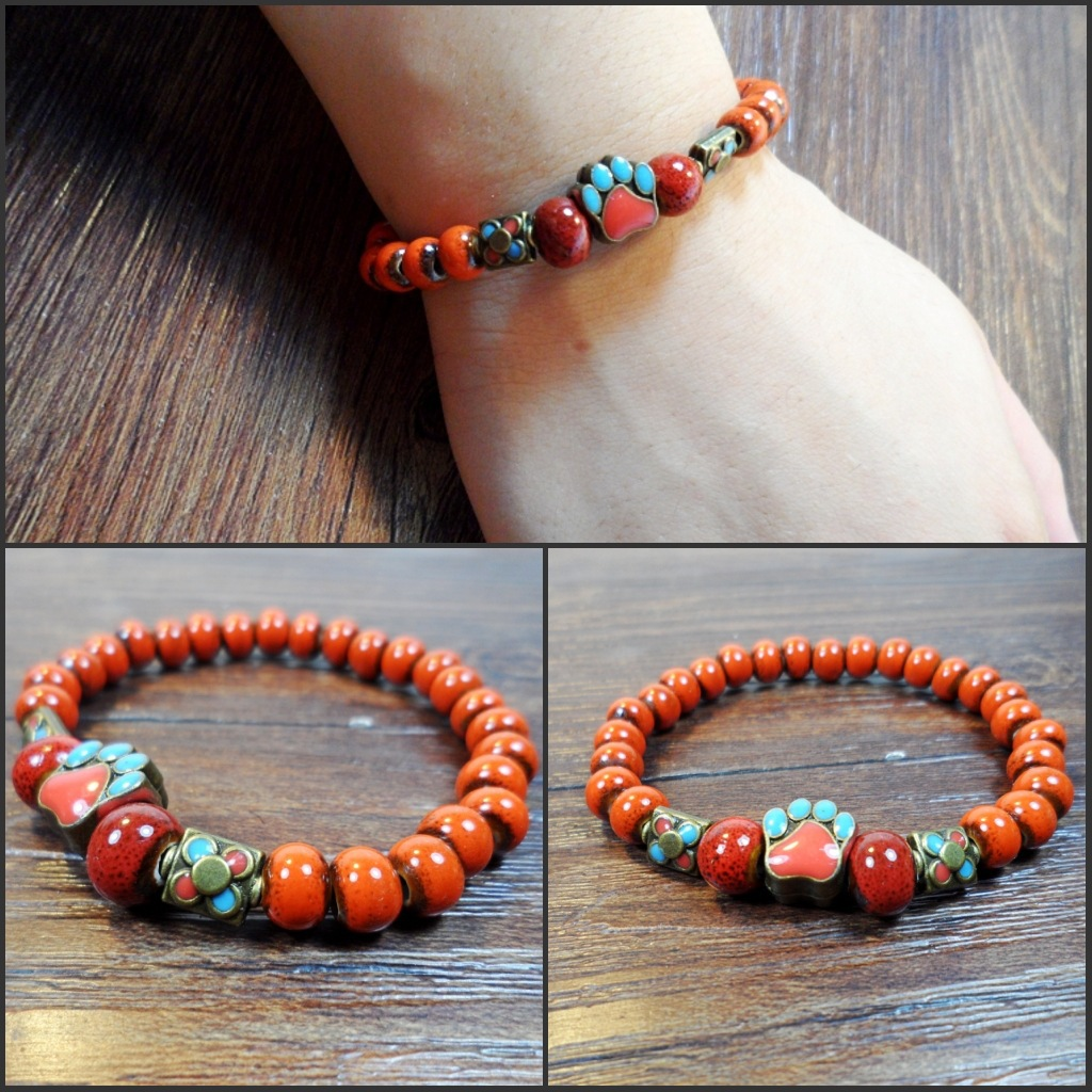 SUPIN Fashion Vintage Ethnic Boho Cute Bear's Paw Flower Ceramic Bead Hand Chain Bracelets & Bangles Gift Women Beaded Bracelet
