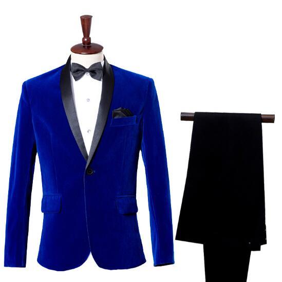 Loldeal Mens Jackets+Pants Autumn Winter Classic Shawl Collar Royal Blue Wedding Dress Suit Blazer for Men Masculino Slim Fit