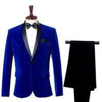 Loldeal Mens Jackets+Pants Autumn Winter Classic Shawl Collar Royal Blue Wedding Dress Suit Blazer for Men Masculino Slim Fit