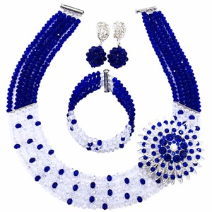 Amazing! Royal Blue Transparent Crystal Beaded Nigerian Wedding African Beads Jewelry Set for Women Girls 5L-ZJ009(China)
