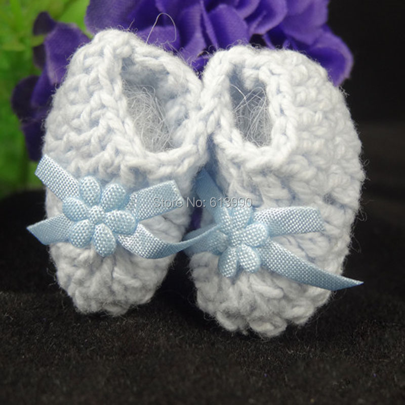 New 12 pairs miniature crochet booties baby shower baptism christening for craft party decorations 25 X 40mm