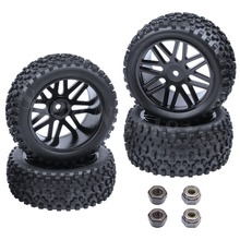 4Pcs Rubber RC Tires Plastic Wheel Rims For 1 10 Buggy Hex Hub 12mm Electric Nitro