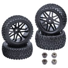 4Pcs Rubber RC Tires & Plastic Wheel Rims For 1/10 Buggy Hex Hub 12mm Electric Nitro Off Road Front Rear Tyres 2wd 4wd(China)
