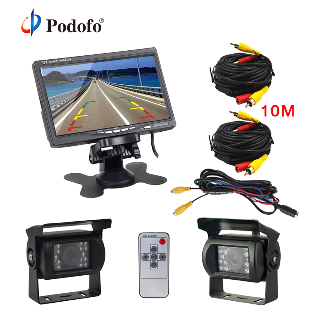 Podofo 7 LCD Dual Backup Camera Car Rear View Monitor Kit for Truck Bus RV 18 IR LED Night Vision Rearview Reverse Camera dual backup camera and monitor kit for bus truck rv ir led night vision waterproof rearview camera 7 lcd rear view monitor