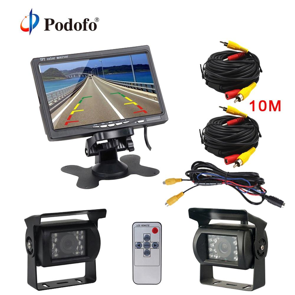 Podofo 7 LCD Dual Backup Camera Car Rear View Monitor Kit for Truck Bus RV 18 IR LED Night Vision Rearview Reverse Camera