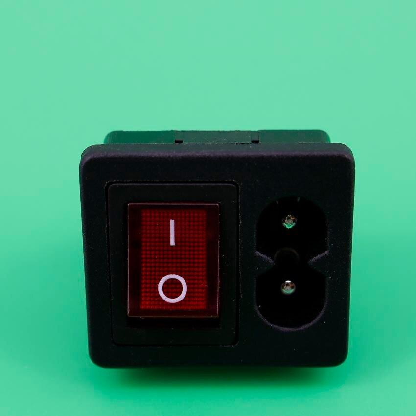 1 шт., входная розетка для шнура питания IEC320 C8 с выключателем питания, красный светильник 250 В 2,5a для компьютерного усилителя|computer cord|computer power switchpower switch computer | АлиЭкспресс