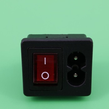 YuXi 1PC IEC320 C8 Power Cord Inlet Socket receptacle With ON-OFF Red Light Rocker Switch 250V 2.5A FOR Computer Amplifier 1pc iec320 c14 ac power cord inlet socket receptacle with rocker switch 250v 15a sa172 p0 3