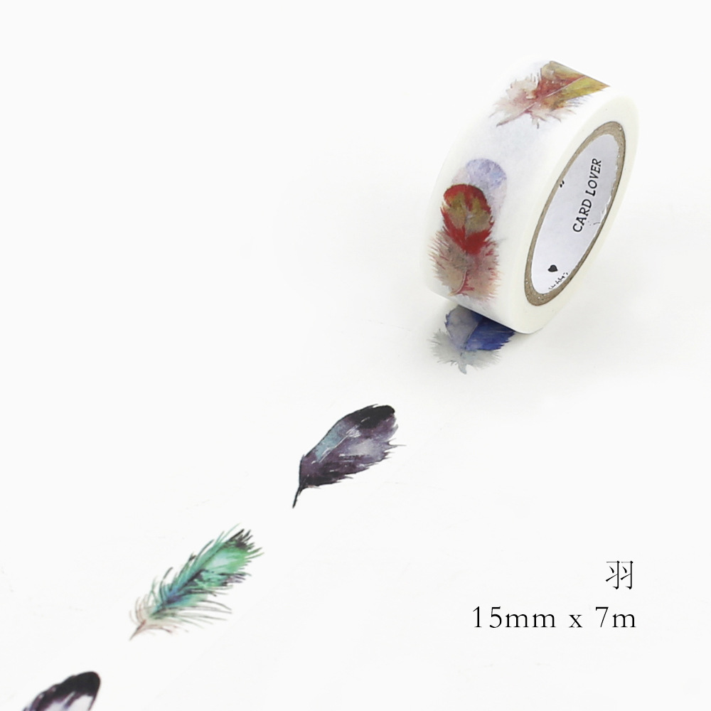 1 pcs kawaii Washi Masking Tape Feather scrapbooking stickers Decorative Adhesive Tapes School Supplies 15 mm*7m cute kawaii flowers feather cat swan animals decorative scotch tape adhesive masking washi tape paper stickers for scrapbooking