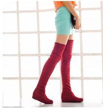 Mulheres Longas Botas Flat Sobre O Joelho Botas de Alta Perna Moda Feminina Saltos Baixos marca Coxa botas Altas Leicpsilverc
