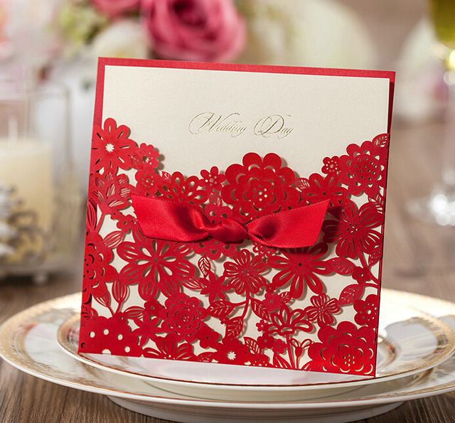Us 74 8 New Wedding Invitations Custom Text Chinese Red Wedding Cards Personalized Invitations Free Shipping Cw5086 W New Wedding Invitations Custom