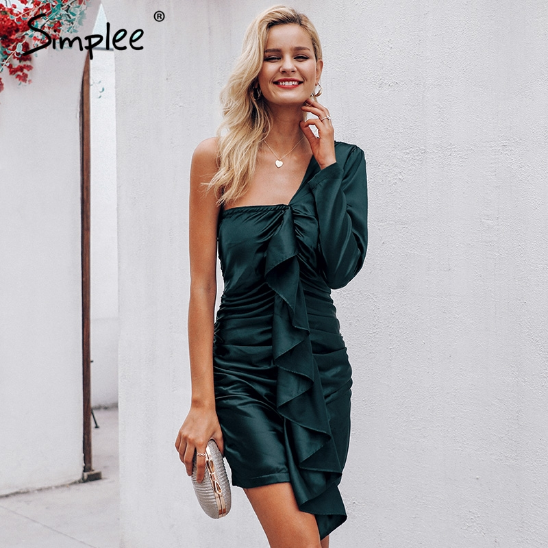 af031e5d39f7e Detail Feedback Questions about Simplee Elegant ruffles satin olive green women  dress One shoulder bodycon party dress Autumn winter v neck sexy dress chic  ...