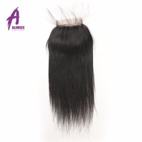 Raw Indian Straight Hair Lace Closure 4''x 4'' 100% Human Hair Closure 8-20inch Non Remy Hair Swiss Lace Three Way Part