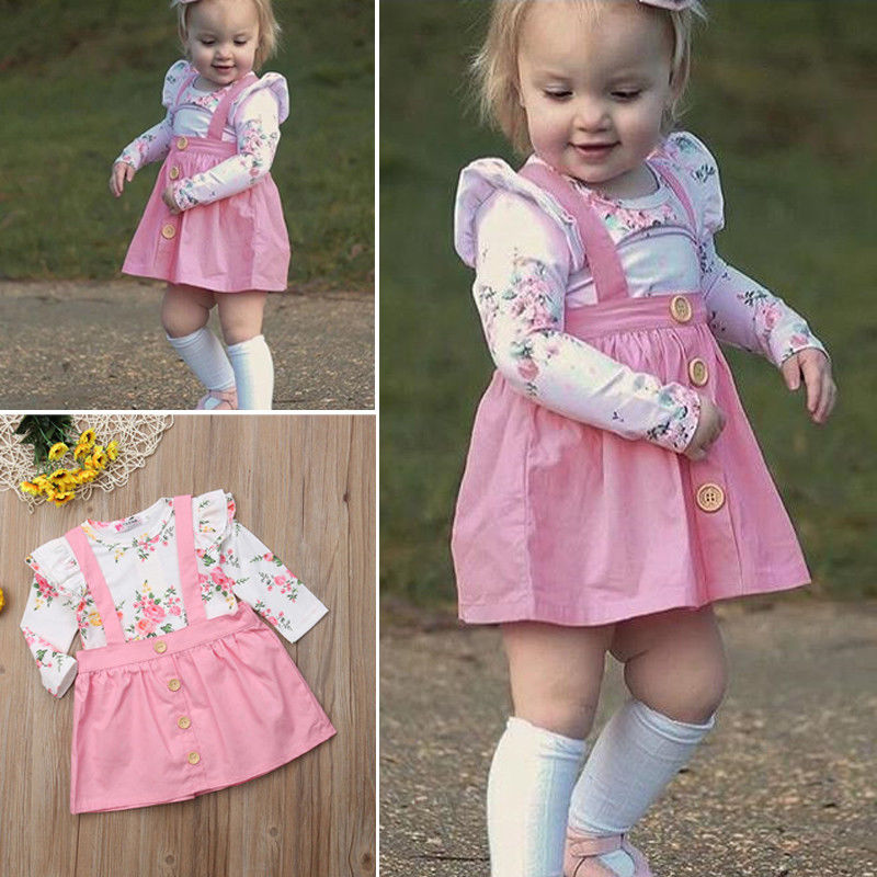 Lovely Cute Toddler Baby Kids Girl Vest Princess Party Floral Printed Shirt Tops