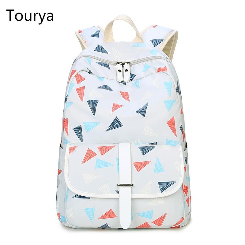 Tourya 패션 백팩 여성 귀여운 삼각형 인쇄 숄더 백 학교 가방 틴에이저 소녀 여행 노트북 배낭