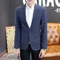 Мужские темно-синий костюм Корейской slim fit мода blazer Костюм Куртка синий плед размер M, чтобы 4XL Мужской пиджаки Мужские пальто Свадьбы платье