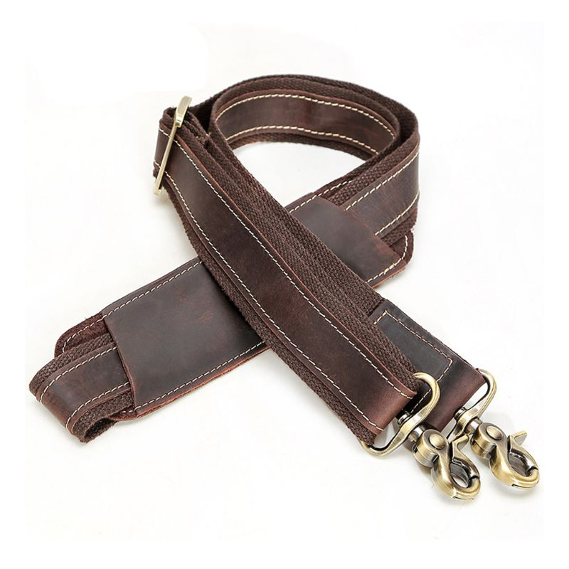 Vintage Brown Double stitching Leather Replacement Shoulder Strap For Messenger Bag