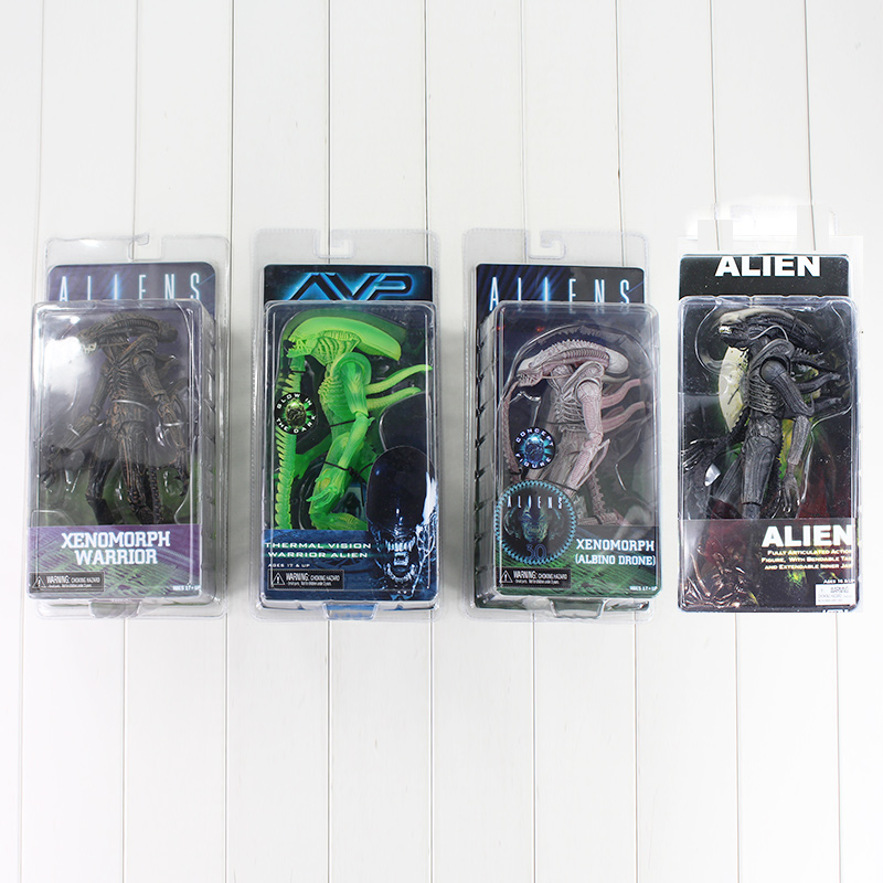 4Style NECA AVP Xenomorph Warrior Series Alien vs Predator Thermal Vision Albino Drone PVC Action Figure
