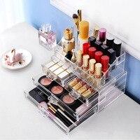 Fashion cosmetics drawer Big size transparent box Fashion Acrylic Cotton Swab Organizer Box Cosmetic Q tip Holder C39