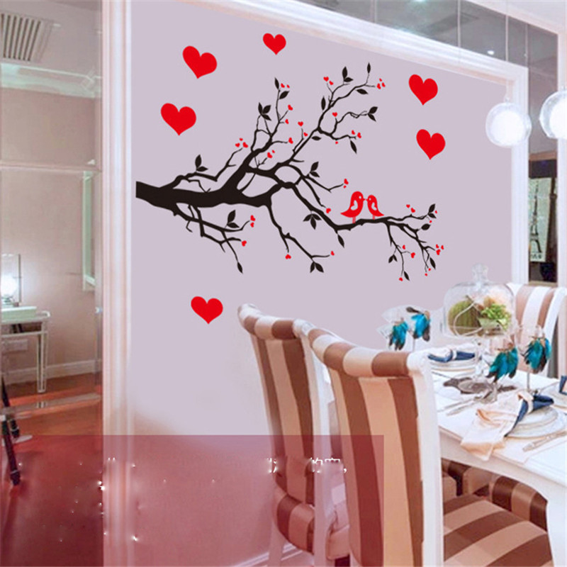Red Love Heart Wall Bird Stickers Decal Bedroom Living Room DIY Removable PVC Art Wallpaper Beautiful Home Decor Branches Decals