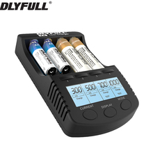 DLYFULL T4 battery charger LCD Screen Intelligent li-ion 18650 14500 16340 26650 AAA AA DC 12V Smart Battery Charger