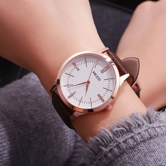 KEZZI Brand Woman Watches Roman Numerals Business Women Men Watch Couple Leather