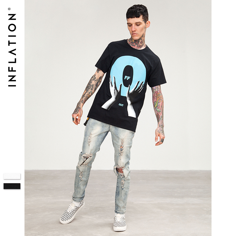 c9e91d0cc12 INFLATION 2018 Summer Style Mens Tee Shirts Fashion T-shirts Men Funny T  shirt Clothing Men 100% Cotton Hip Hop T-Shirts 8251S