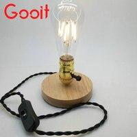 E27 110 V/220 V Retro Vintage Chuyển Đổi Kép Đèn Vàng Gỗ Giữ Đèn cơ sở Edison Bàn Đèn Bàn Đèn Cho Ánh Sáng Bulb DẪN Bóng