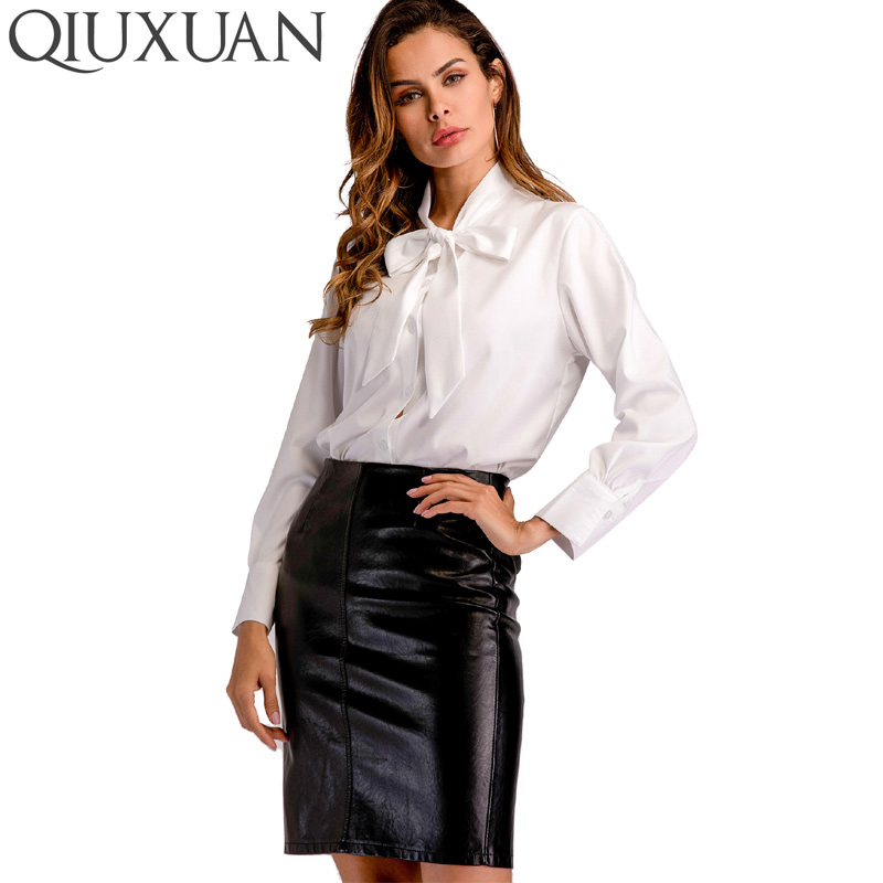 QIUXUAN Casual Work White Women Chiffon Blouse Bowknot Lace-Up Neck Long Sleeve Office Lady Tops Fashion Summer Blouses ...