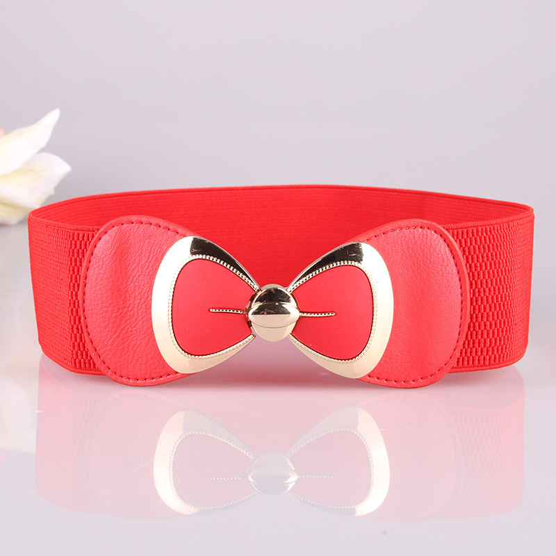 Boho   Belt   for Women Bowknot Elastic elastic Wrap Around Obi Style Cinch Waistband Black Cummerbund fashion White Red Women   Belt