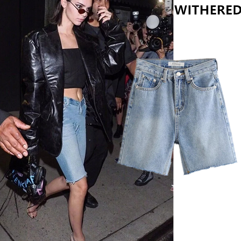 Withered Ins Vintage Kendell Burrs Denim Shorts Jeans Woman High Waist Jeans Ripped Jeans Boyfriend Jeans For Women Short Women