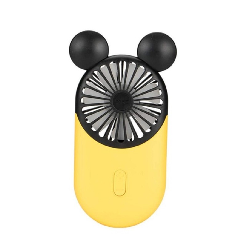 Color : Yellow, Size : One Size Mini USB Table Desk Personal Fan Ultra-Thin Pocket Fan with Led Night Light Portable Mini Handheld Charging USB Mute Metal Design Quiet Operation USB Cable Fan