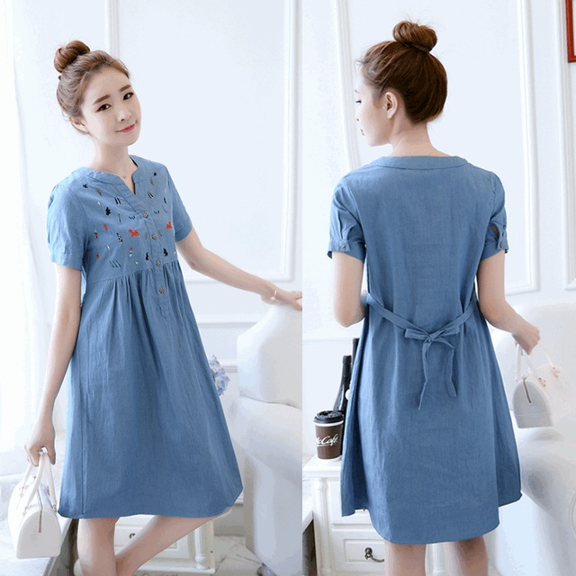 9e7ae4238 tcYct Clothes New Arrival Solid Knee-Length Embroidery Denim Casual Pregnant  Women Loose Dress Pregnancy Clothing