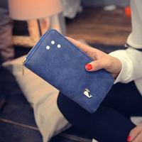 2017 frosted little dolphin, zipper purse, ladies long hand bag, wallet, matte leather, Korean fashion trend