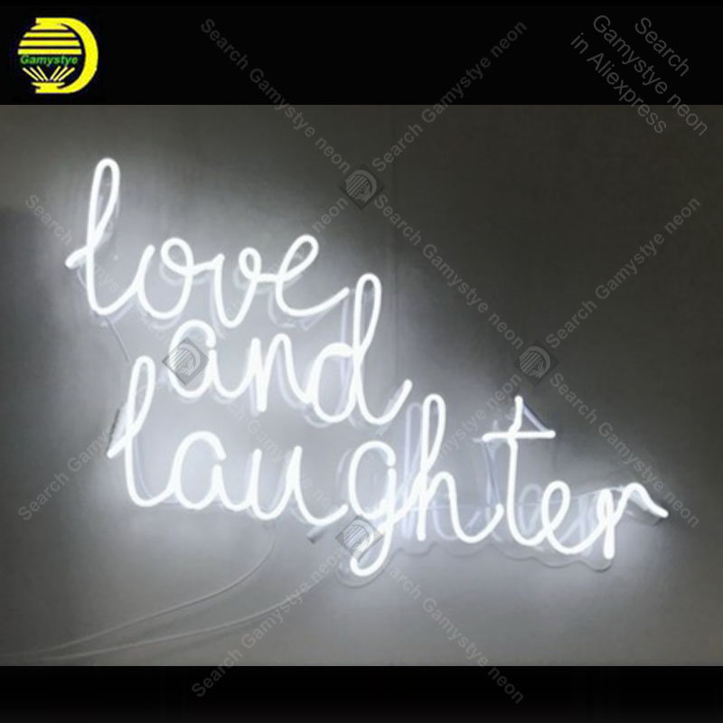Love And Laughter Neon Sign Handmade neon light adornment Decorate Home Bedroom Iconic Art Neon Lamp Clear Board lamp Artwork