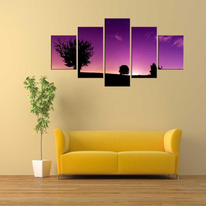 5 Sztuk Darmowa Wysyłka Malarstwo Ścienne Płótnie Drzewa w Sunset Fioletowy Dekoracyjne Sztuki Malowania na Ścianie Salonu Wystrój Oprawione