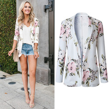 Hodisytian Fashion Blazer For Women Floral Print Notched Casual Thin Suits Jacket Coat Outerwear Overcoat Female Blaser