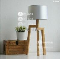 Ems бесплатная доставка настольные лампы E27 современные деревянные настольные лампы художественной бежевый с льняной ткани оттенок освещен
