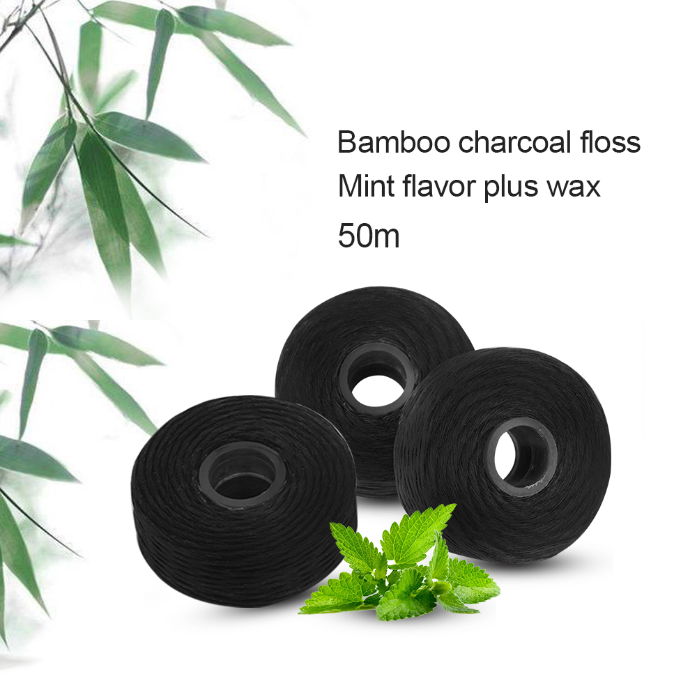 50m de bambu carvao dental flosser embutido 04